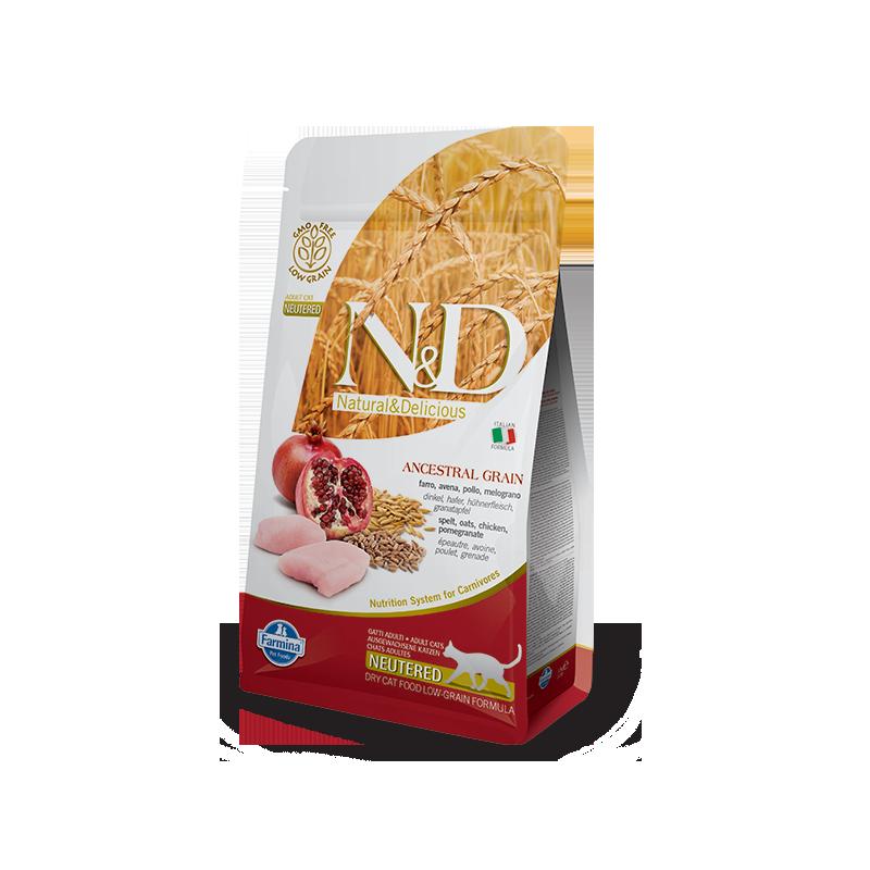 Farmina N&D Cat Low Grain Neutered (Курица, гранат)