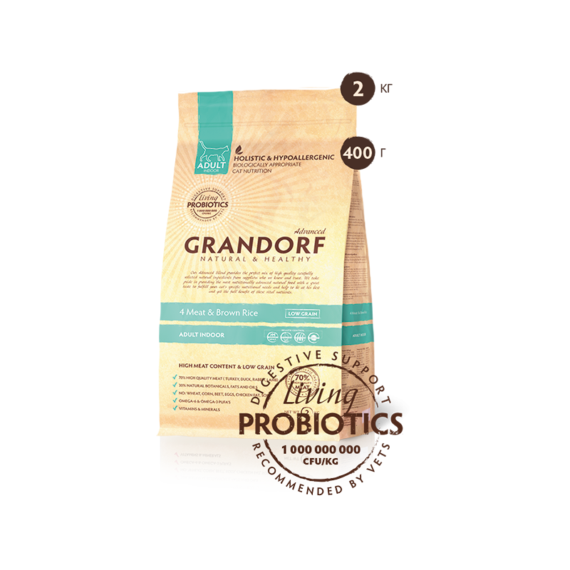 Grandorf Living Probiotics 4 Meat & Brown Rice Adult Indoor