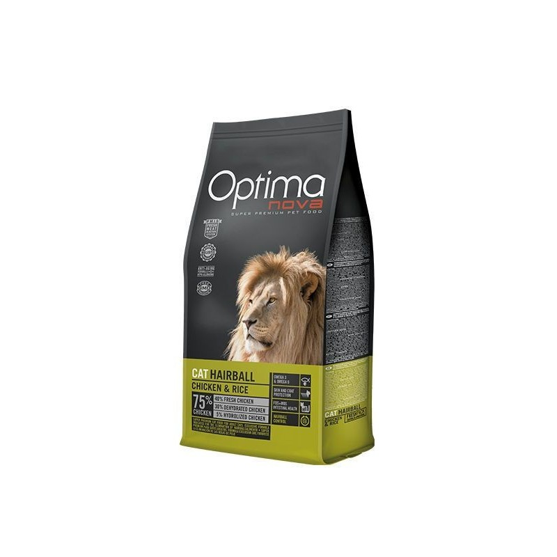 Optima Nova Cat Adult Hairball (Курица, рис)