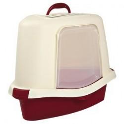 """Туалет """"TRIXIE"""" """"Matteo"""" угловой, с крышей и дверью, бордовый-кремовый, 54*40*40/40 см."""