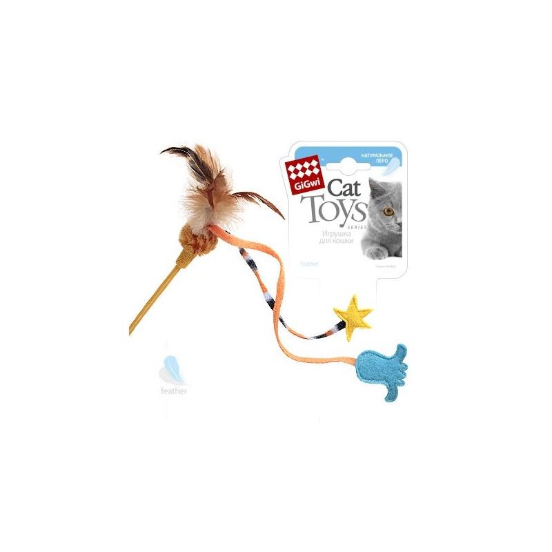 GiGwi Дразнилка бежевая с пером осьминогом и звездочкой