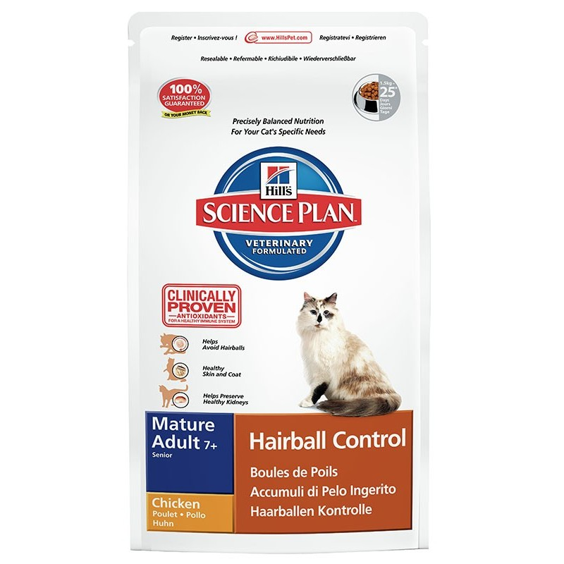Hill's Science Plan Feline Mature Adult Hairball Control (Курица)