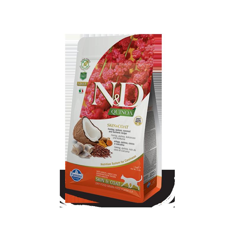 Farmina N&D Cat Quinoa Skin&Coat (Сельдь, кокос)